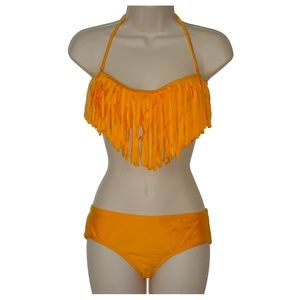 Raisins orange bandeau bikini set S